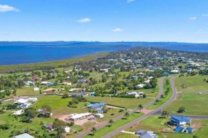 River Heads Aerial with Ocean Background and Acreage Homes
