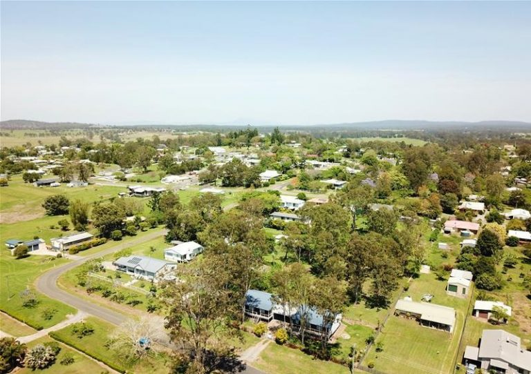 tiaro aerial rural landscape houses and bush