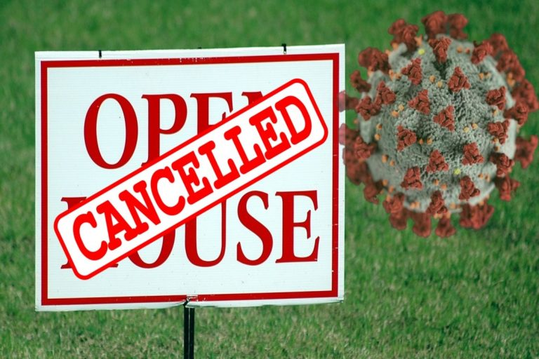 COVID-19 molecule & cancelled open house sign