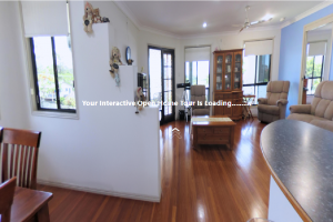 photo of living room within an interactive open home tour frame
