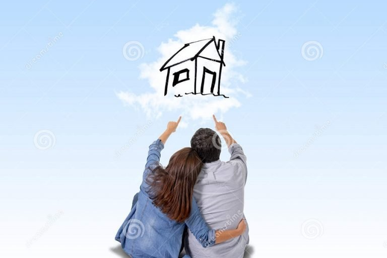 young couple dreaming on new turnkey package home